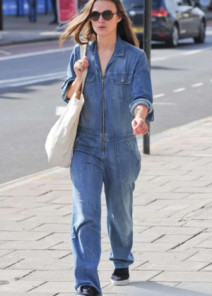Keira Knightley in Jeans Jumpsuit out in London