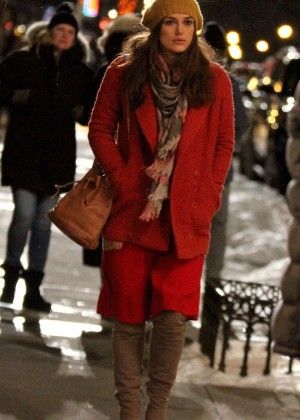 Keira Knightley in Red Coat on 'Collateral Beauty' set in NYC