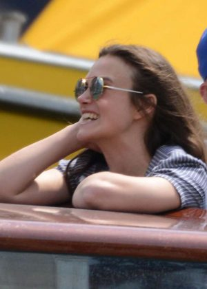 Keira Knightley on a taxi boat in Venice