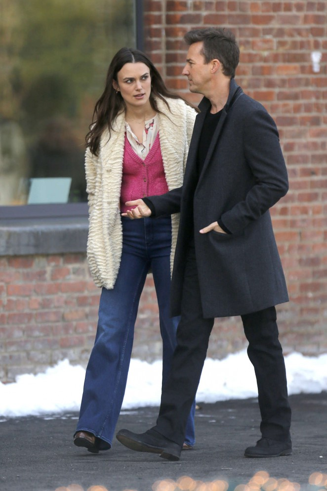 Keira Knightley on the set of 'Collateral Beauty' in New York