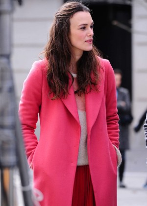 Keira Knightley on the set of 'Collateral Beauty' in NY