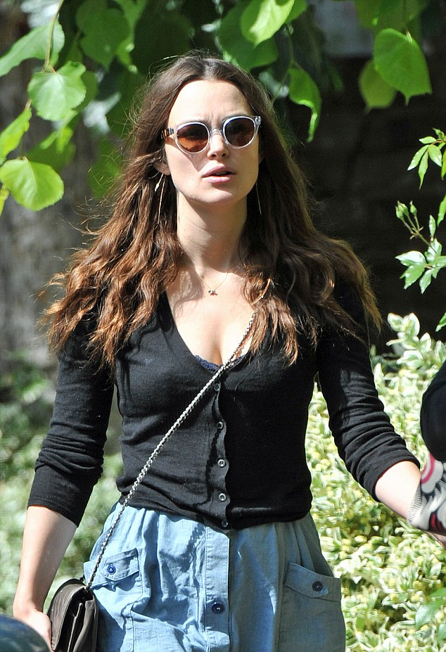 Keira Knightley in Jeans Skirt Out in London