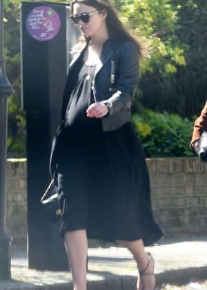 Keira Knightley in Black Dress Out in London