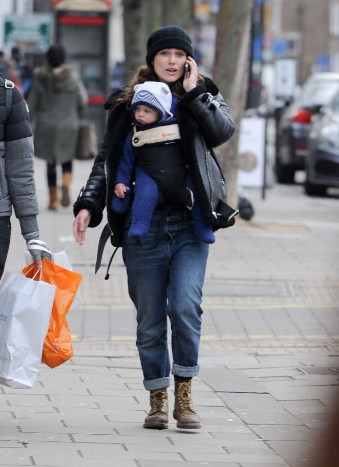 Keira Knightley with her baby out in London