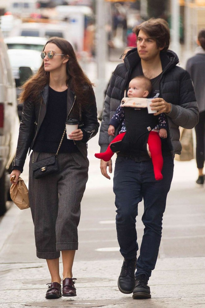 Keira Knightley with her Family out in New York
