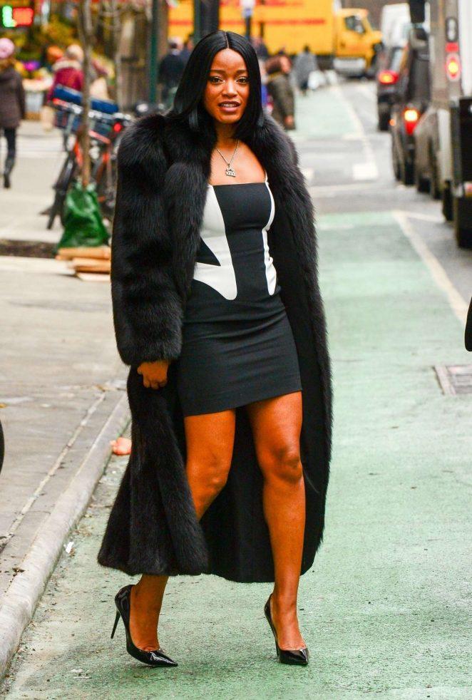 Keke Palmer in Mini Dress and Long Coat in NYC
