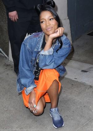 Keke Palmer in Orange Skirt Out in New York