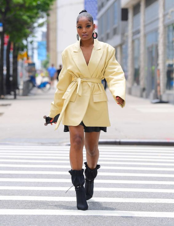 Keke Palmer in Yellow Coat - Out in New York City
