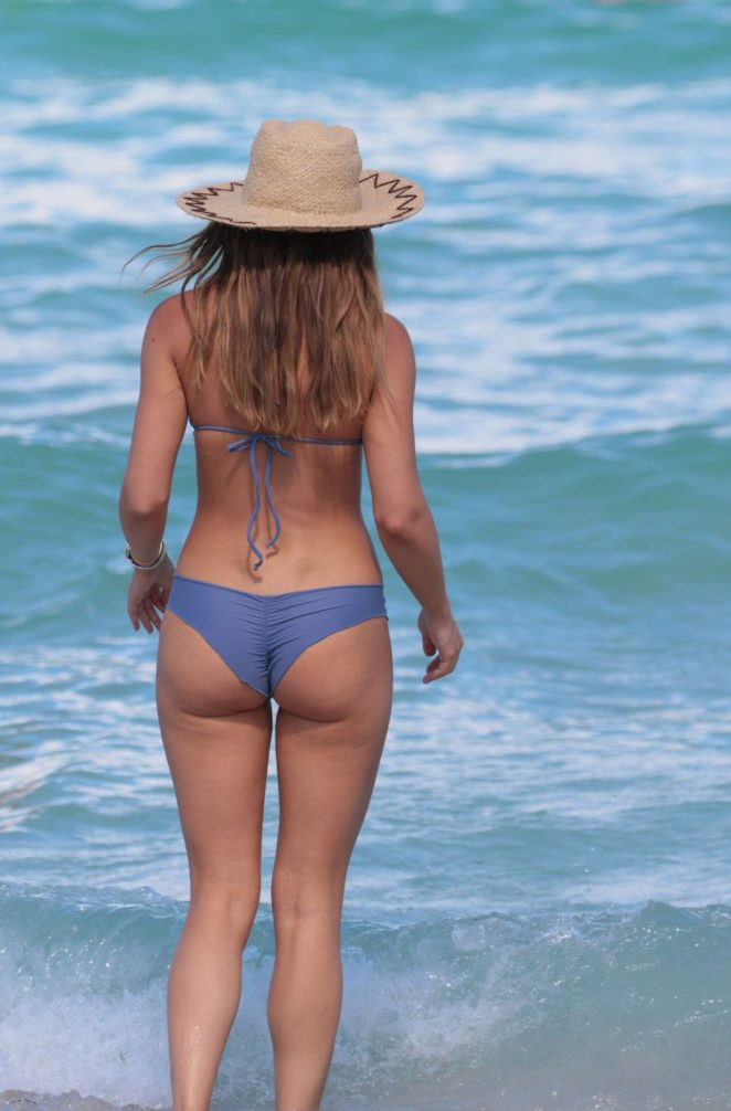 Keleigh Sperry - Wearing Blue Bikini at the Beach in Miami