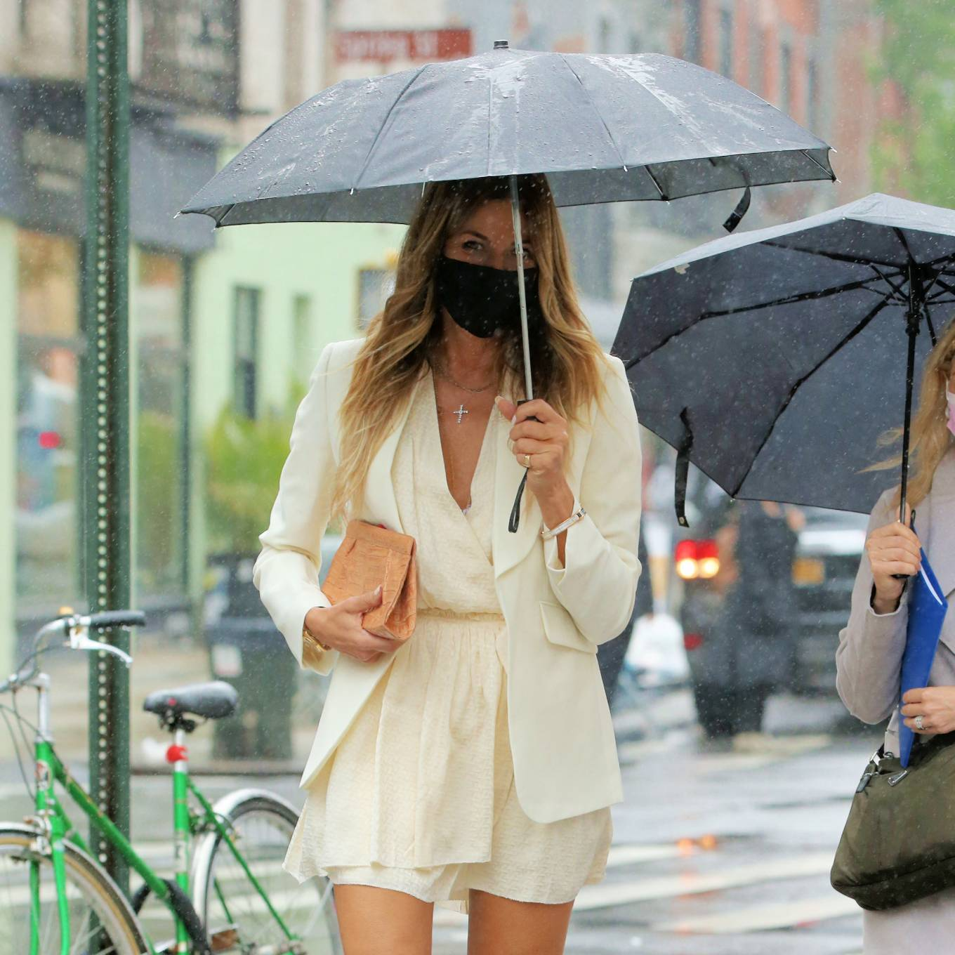 Kelly Bensimon 2021 : Kelly Bensimon – In a little white dress in the rain out in New York-01