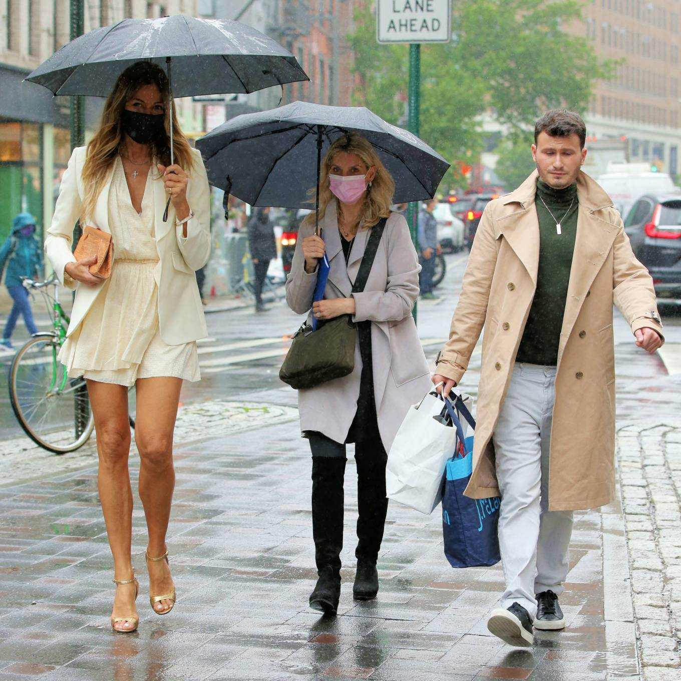 Kelly Bensimon 2021 : Kelly Bensimon – In a little white dress in the rain out in New York-02