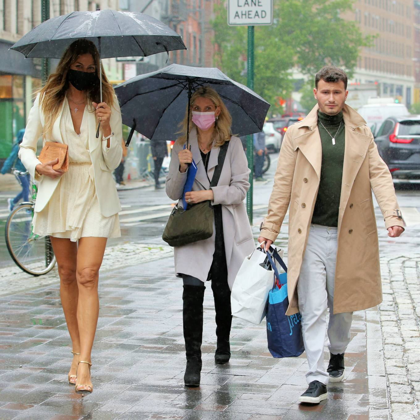 Kelly Bensimon 2021 : Kelly Bensimon – In a little white dress in the rain out in New York-04