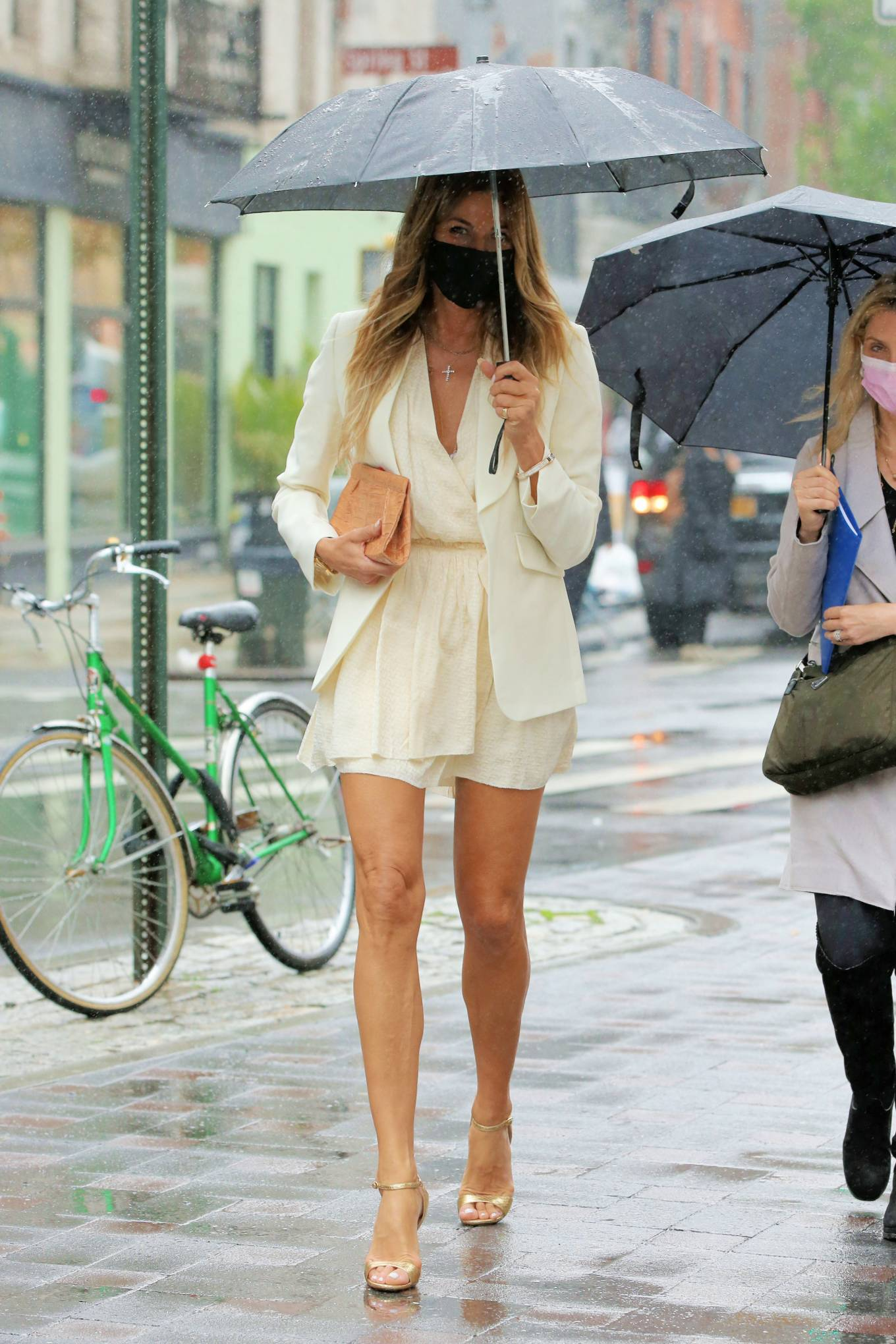 Kelly Bensimon 2021 : Kelly Bensimon – In a little white dress in the rain out in New York-05