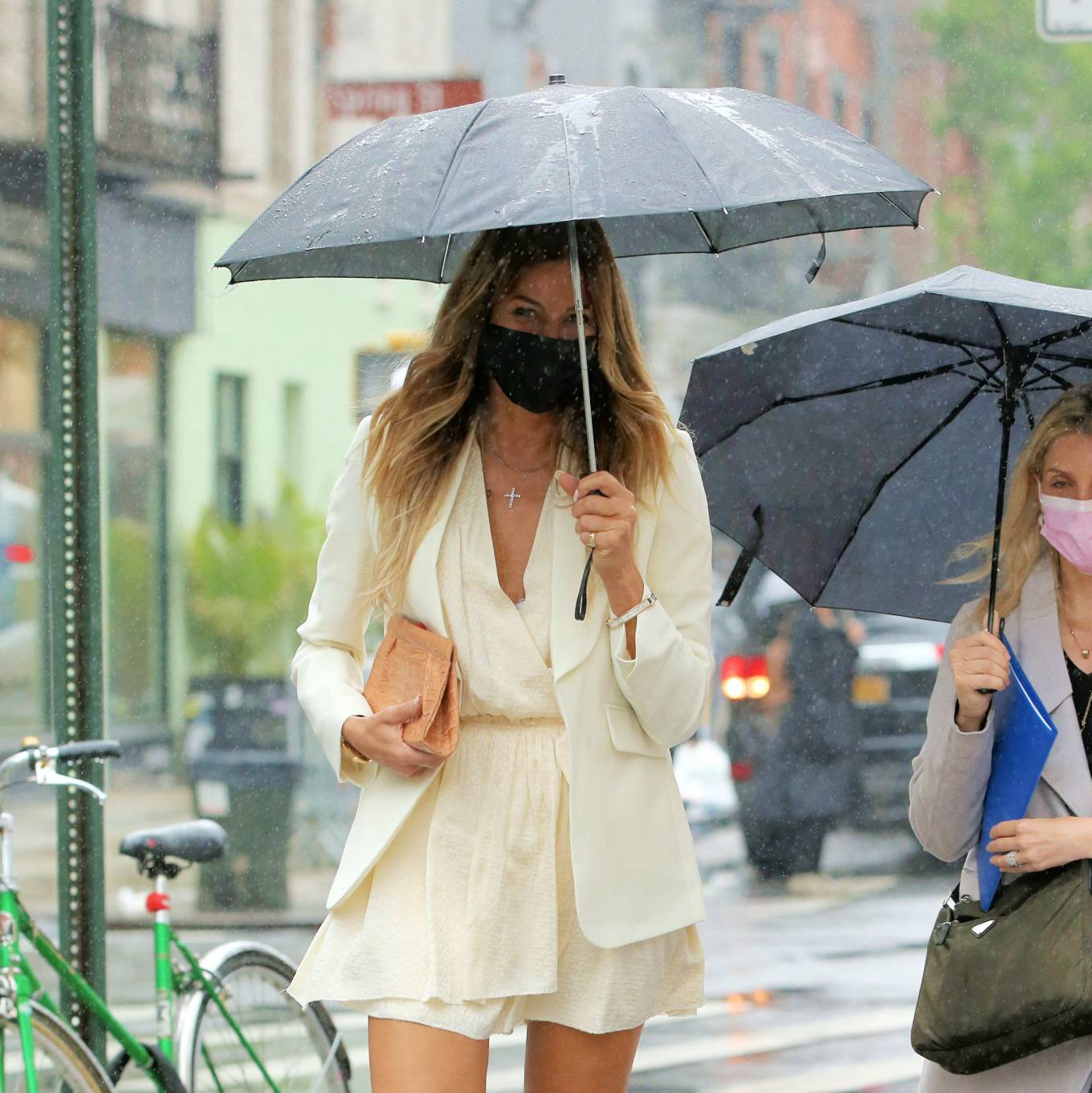 Kelly Bensimon 2021 : Kelly Bensimon – In a little white dress in the rain out in New York-06