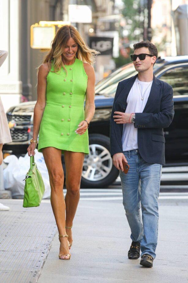 Kelly Bensimon - In a neon green mini dress in New York
