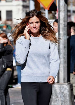 Kelly Bensimon in Black Tights Walking in Soho