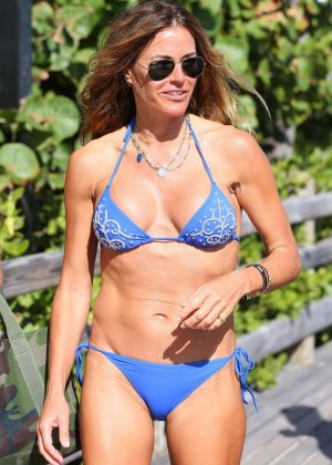 Kelly Bensimon in Blue Bikini in South Beach