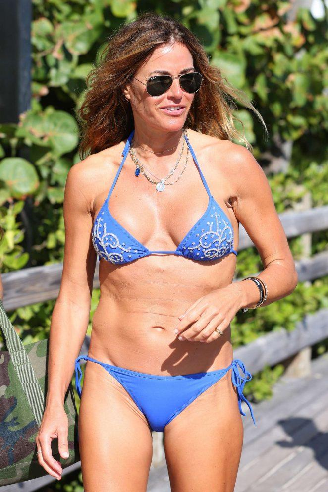 Kelly Bensimon in Blue Bikini in South Beach