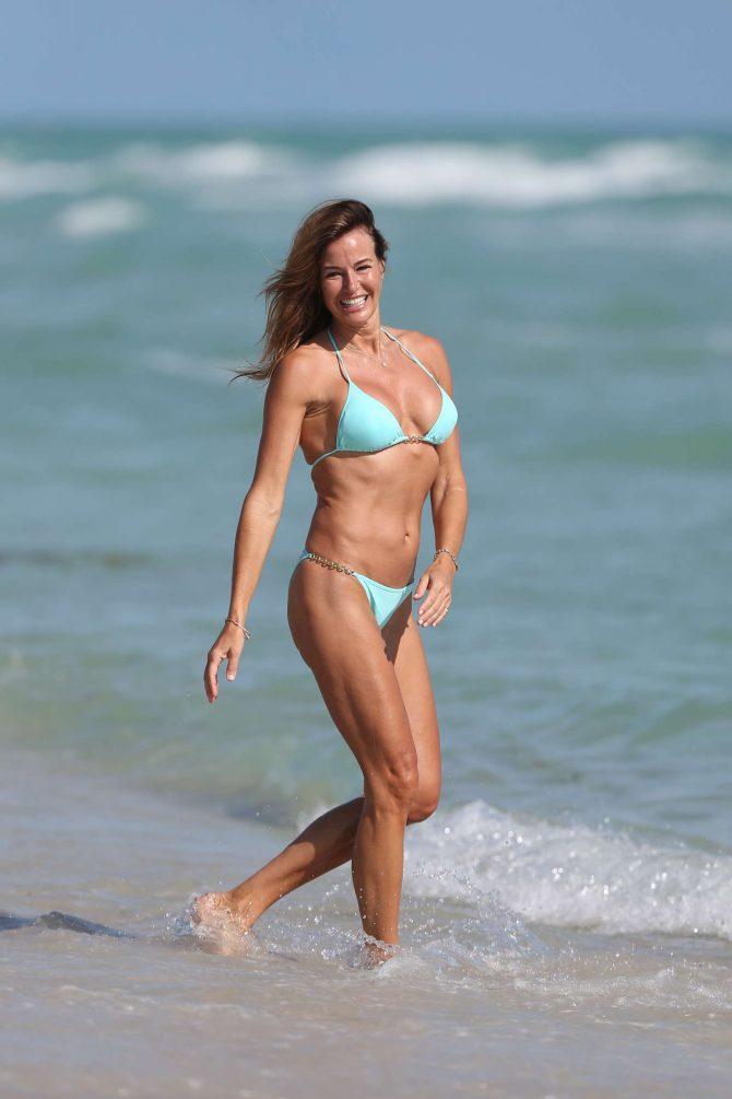 Kelly Bensimon in Green Bikini on Miami Beach