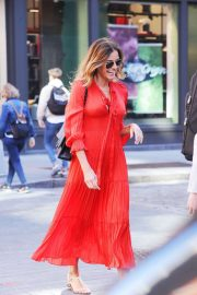 Kelly Bensimon in Long Red Dress - Out in New York