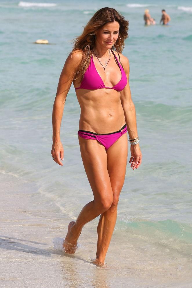 Kelly Bensimon in Pink Bikini on South Beach