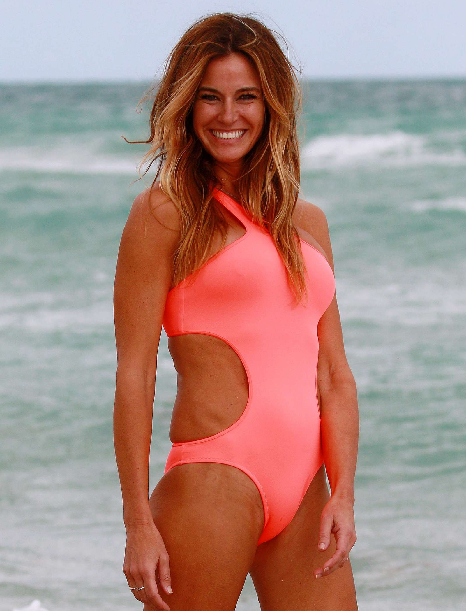 Kelly Bensimon In Pink Swimsuit At The Beach In Miami