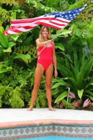 Kelly Bensimon - In red swimsuit on Easter with her family in West Palm Beach