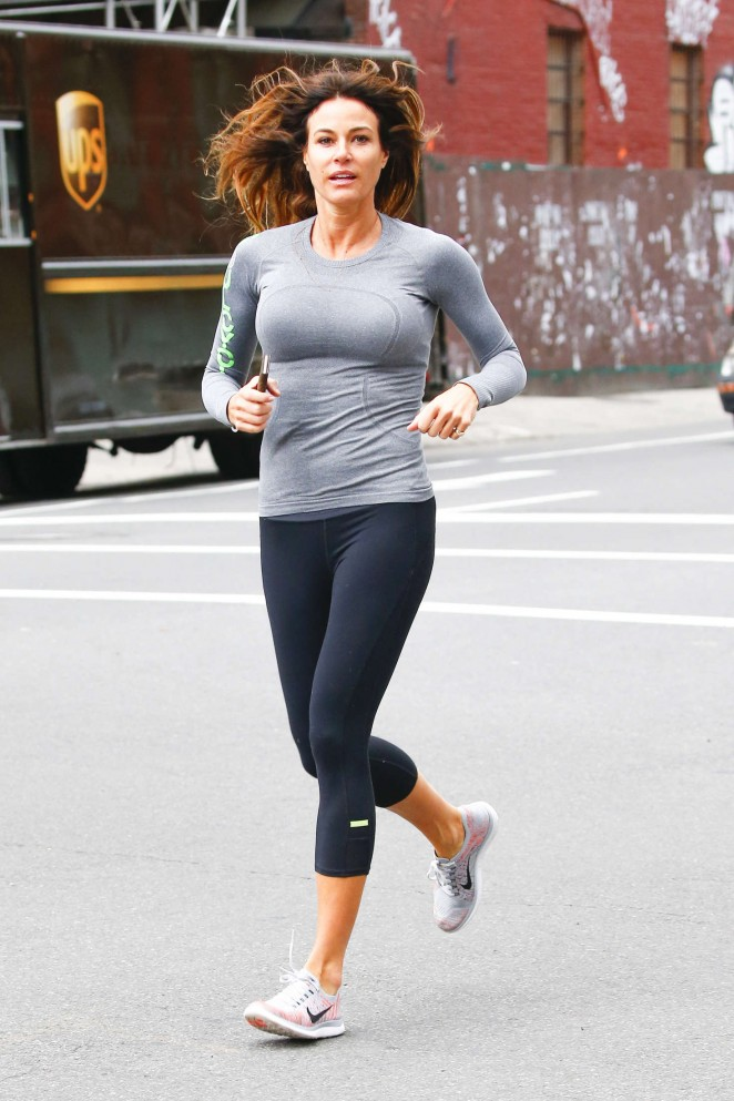Kelly Bensimon in Spandex jogging in New York