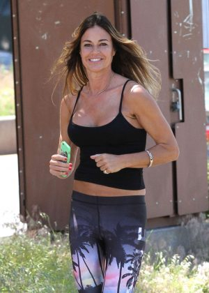 Kelly Bensimon in tights jogging in New York City