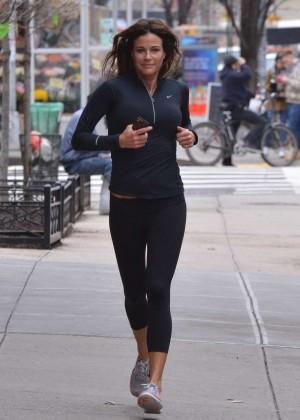 Kelly Bensimon in Tights Jogging in Soho
