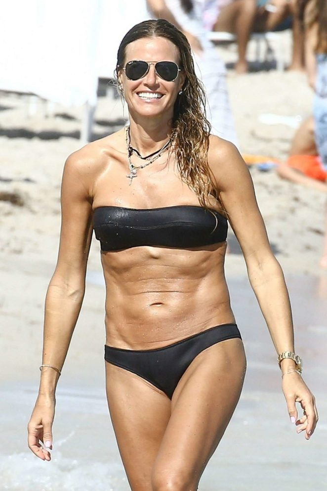 Kelly Bensimon in Two Different Bikini on the beach in Miami