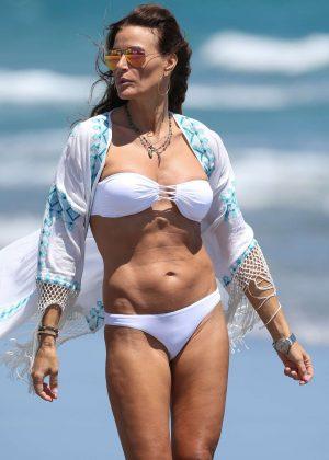 Kelly Bensimon in white bikini in Boca Raton