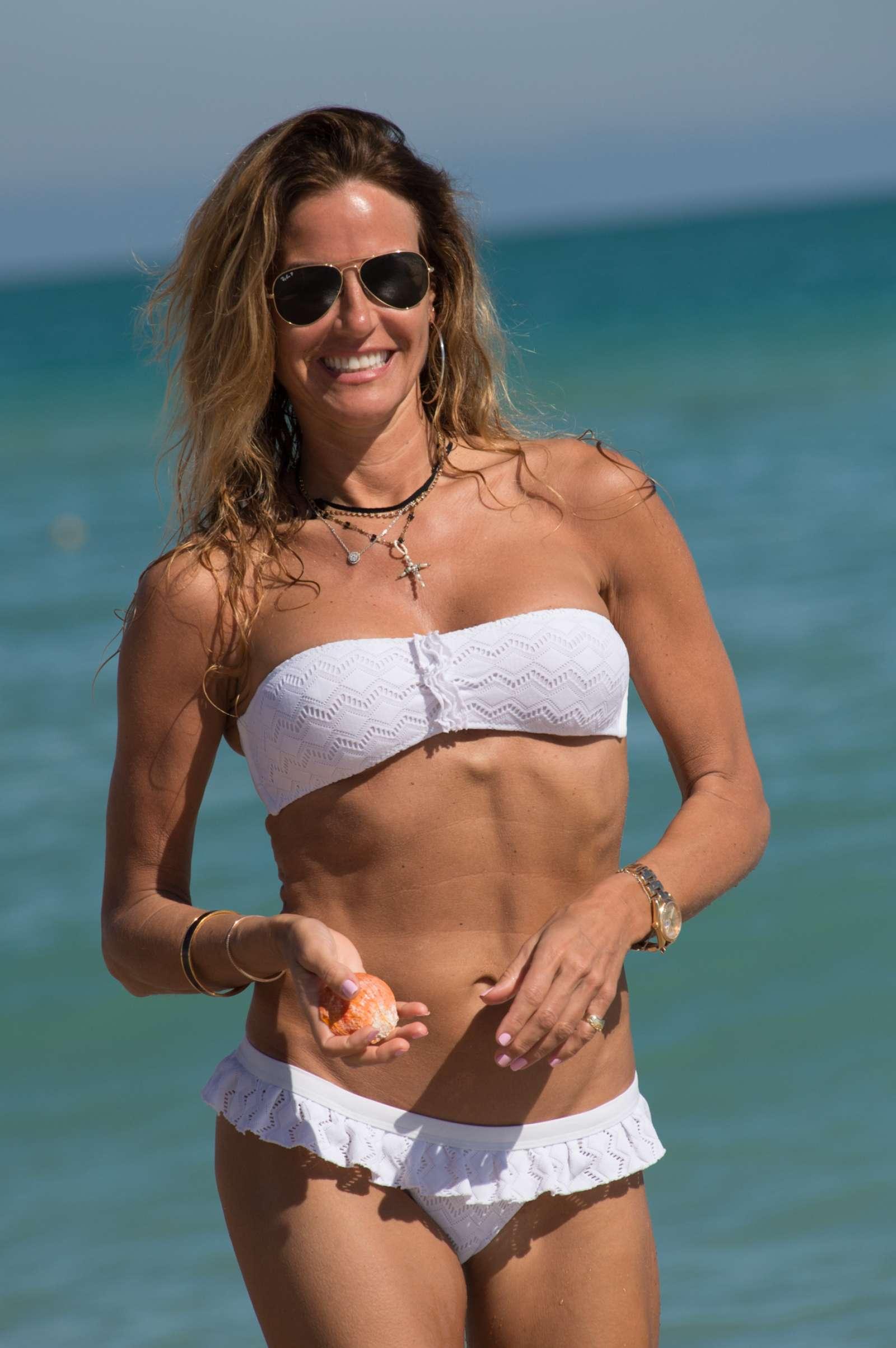 Kelly Bensimon in White Bikini in Miami