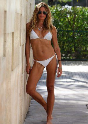 Kelly Bensimon in White Bikini in South Beach