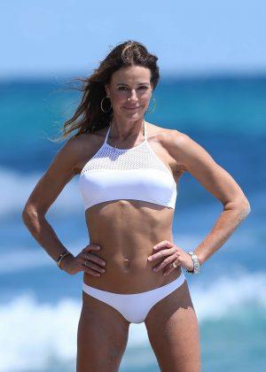 Kelly Bensimon in White Bikini on the beach in Boca Raton