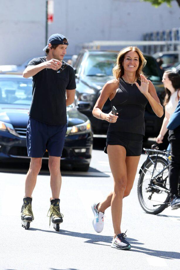 Kelly Bensimon - Seen while her boyfriend Nicholas Stefanov roller blades in Soho