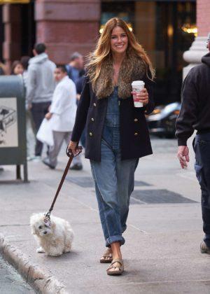 Kelly Bensimon - Walking her dog in NYC