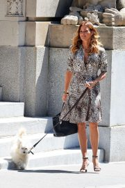 Kelly Bensimon - Walking her pooch in Soho