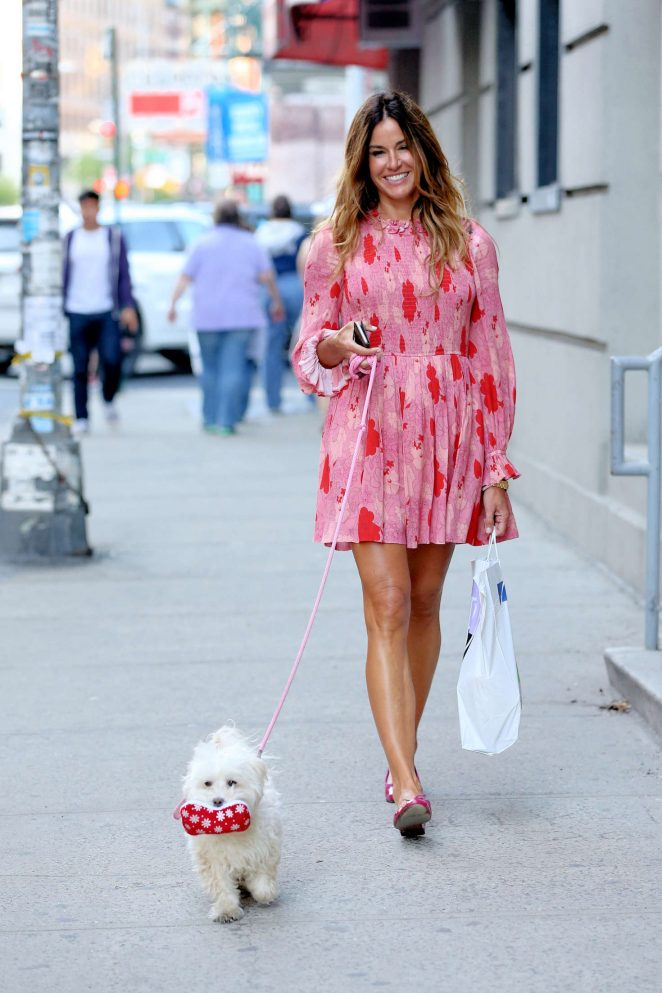 Kelly Bensimon - Walks Her Dog Fluffy in New York City