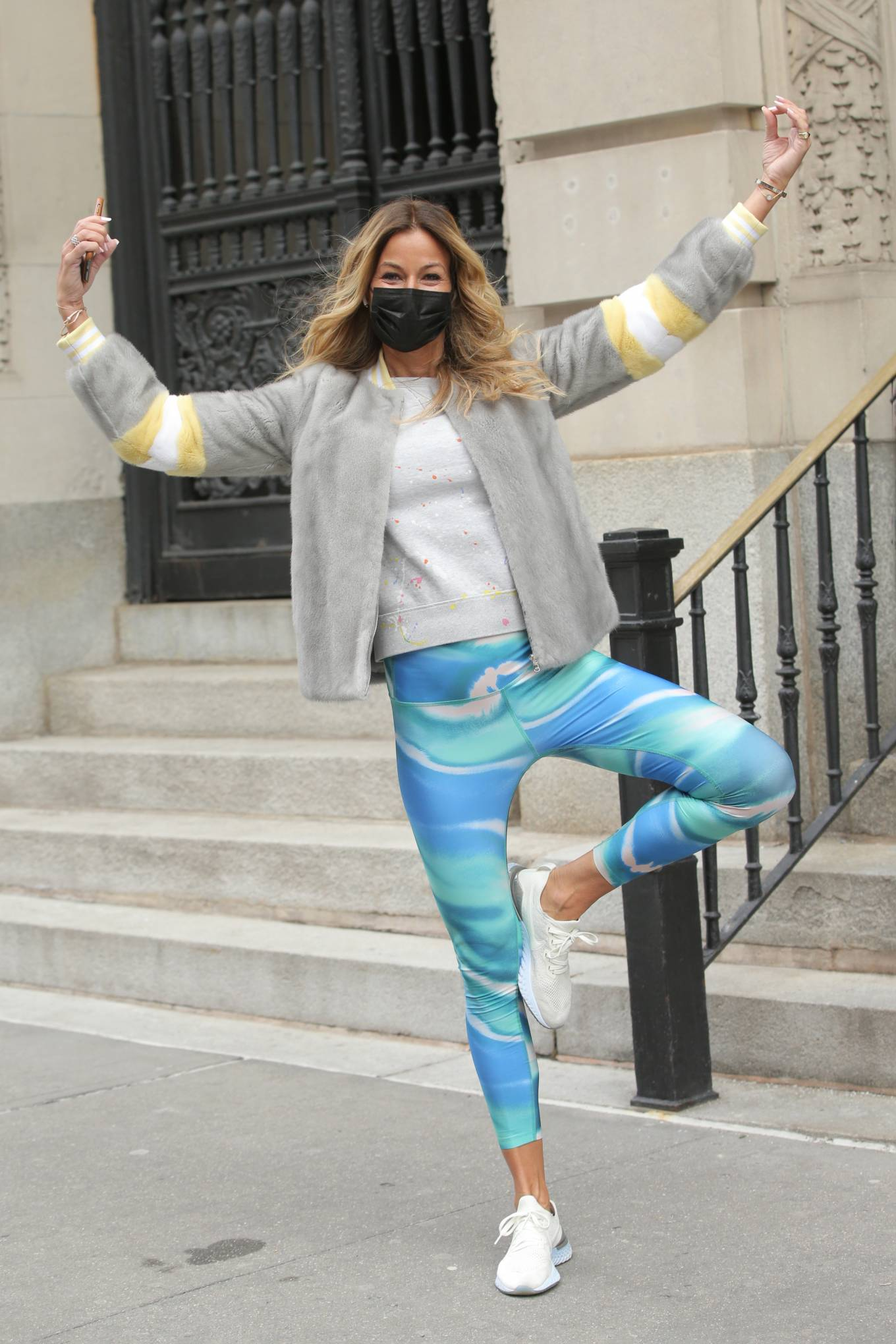 Kelly Bensimon - Wearing a Pologeorgis jacket and Splits59 colorful tights in New York