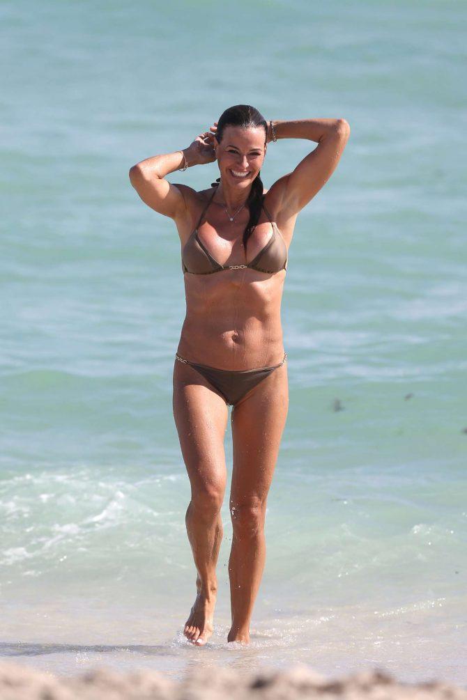 Kelly Bensimon - Wearing metallic bikini on Miami Beach