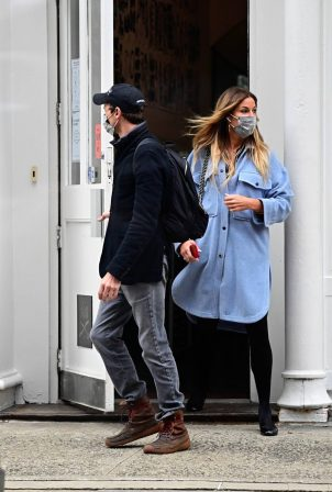 Kelly Bensimon - With boyfriend Nick Stefanov in New York