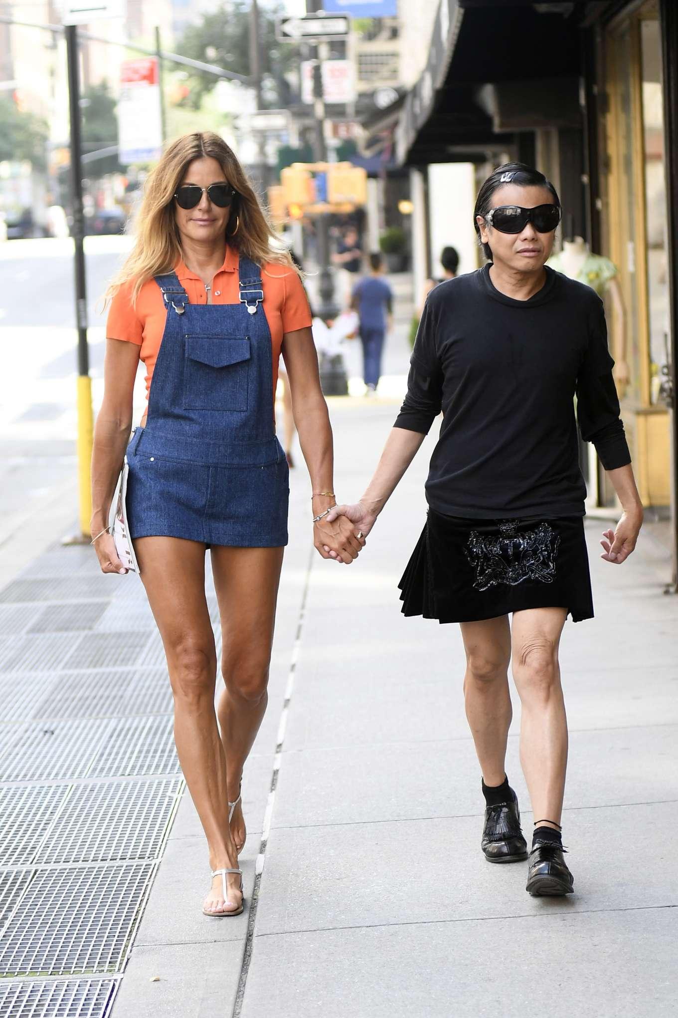 Kelly Bensimon with Fashion Designer Zang Toi on Madison Avenue in New York