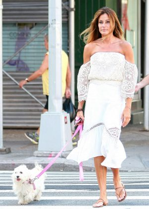Kelly Bensimon with her dog in New York City