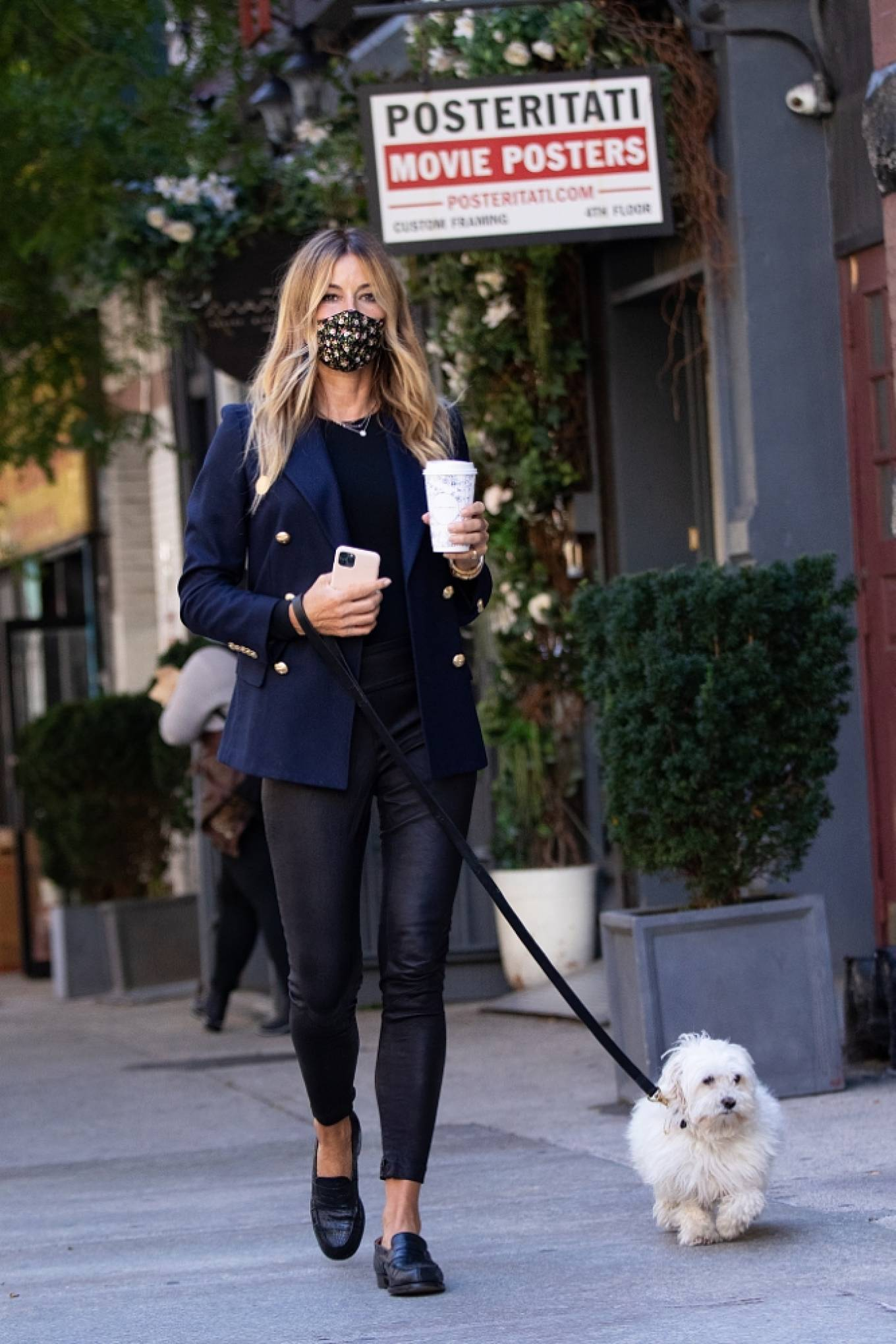 Kelly Bensimon - With her pup out for a coffee in NYC