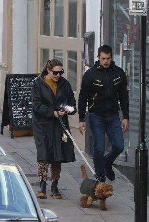 Kelly Brook and Jeremy Parisi take their puppy Teddy to Dandie Dog Cafe in Hampstead
