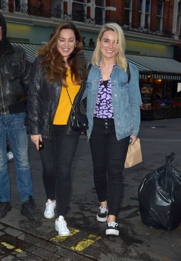 Kelly Brook and Sian Welby at Global Radio in London