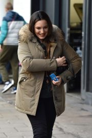 Kelly Brook - Arriving at Heart Radio in London