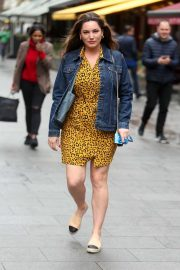 Kelly Brook - Arriving at Heart Radio Studios in London