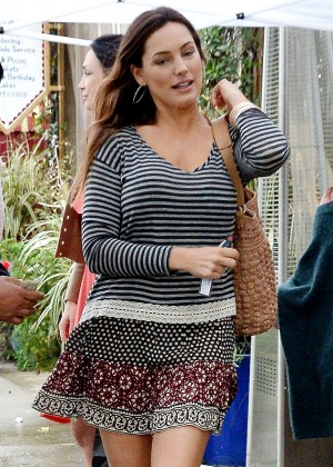 Kelly Brook in Mini Skirt at 'Little Next Door' in West Hollywood